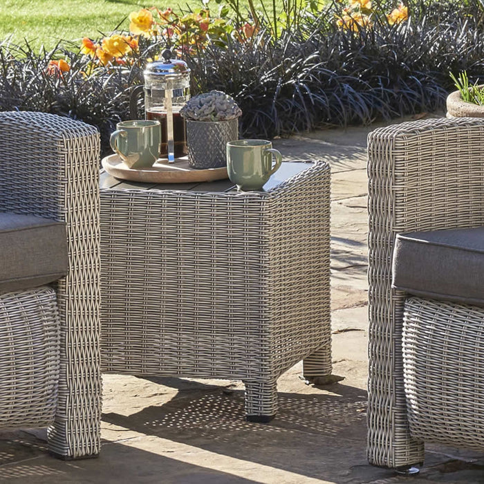 Kettler Garden Furniture Kettler Palma Wicker Side Table Square 45x45cm In White Wash