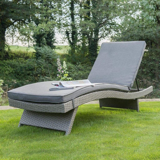 Kettler Garden Furniture Kettler Rattan Sun Lounger Universal White Wash with Taupe Cushion