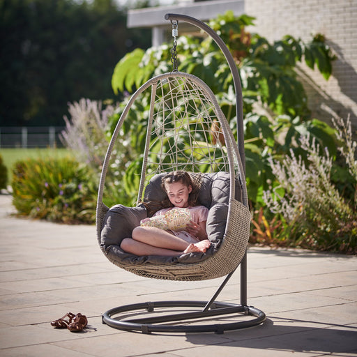 Kettler Garden Furniture Kettler Palma Single Cocoon Hanging Egg Chair in White Wash