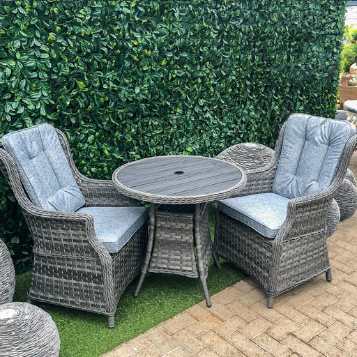 Amalfi High Back Grey Rattan  tea for two Set with Polywood top - Mid Ulster Garden Centre, Ireland