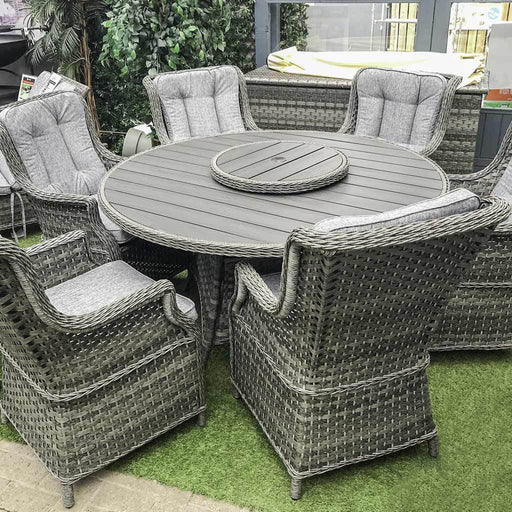 Amalfi High Back 6 Seat Grey Rattan Outdoor Furniture Set with Polywood Top