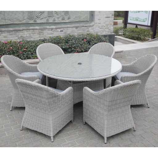 Mercer Garden Furniture Porto 6 Seater Round Garden Dining Set in Grey