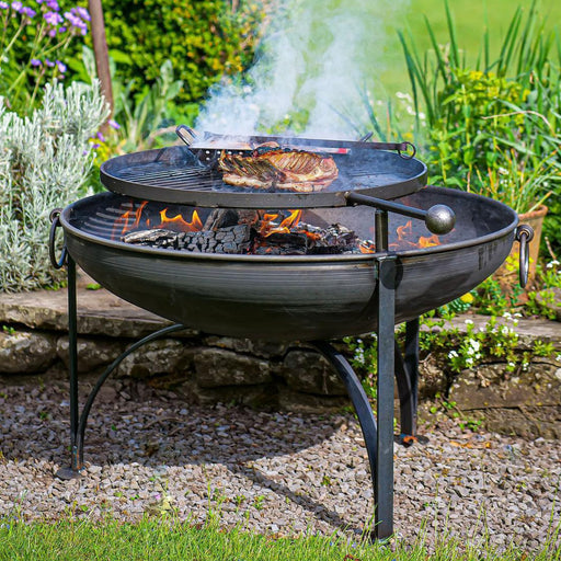 Firepits UK BBQ's and Firepits Plain Jane Garden Fire Pit with Swing Arm BBQ - various sizes from 60cm - 90cm diameter