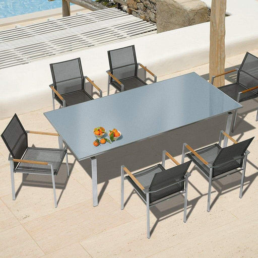 Barlow Tyrie Garden Furniture Barlow Tyrie Mercury 220 Outdoor Dining Table and 8 Seat Armchair Set