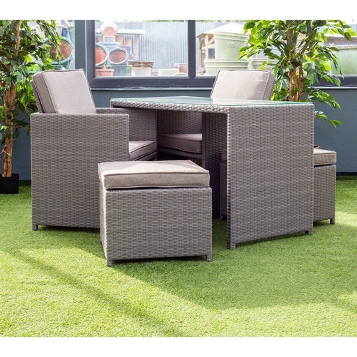 Alexander Rose Garden Furniture Alexander Rose Bespoke 2 Seater Rattan Cube Set in Grey (Ex-Display)