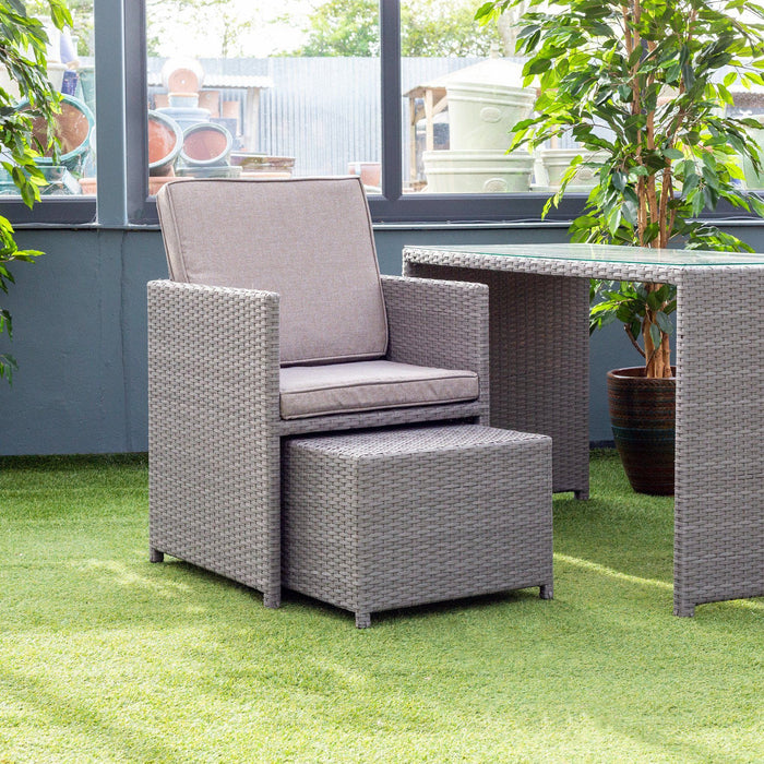 Alexander Rose Bespoke 2 Seater Rattan Cube Set in Grey Armchair with Footstool - Mid Ulster Garden Centre, Ireland