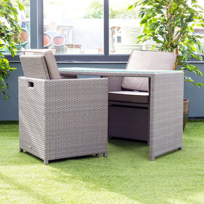 Alexander Rose Bespoke 2 Seater Rattan Cube Set in Grey Armchair Back - Mid Ulster Garden Centre, Ireland