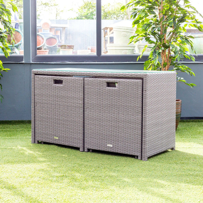 Alexander Rose Bespoke 2 Seater Rattan Cube Set in Grey Compact Set - Mid Ulster Garden Centre, Ireland
