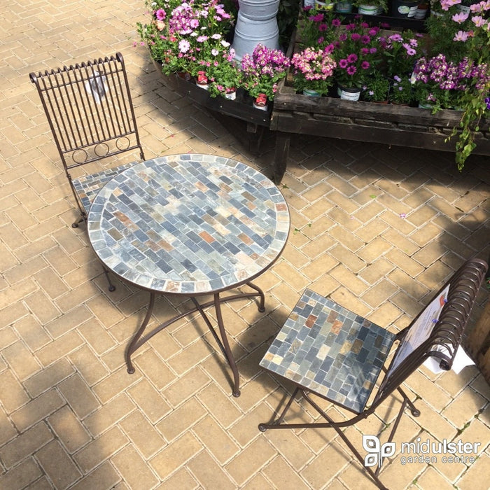 Mosaic Bistro Set with 2 folding chairs - Mid Ulster Garden Centre, Ireland