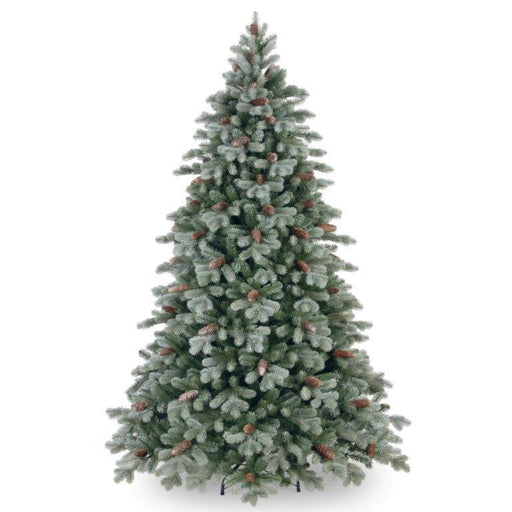 National Tree Company Feel Real Frosted Colorado Spruce Hinged Tree with 86 cones 225cm / 7.5ft - Mid Ulster Garden Centre, Northern Ireland