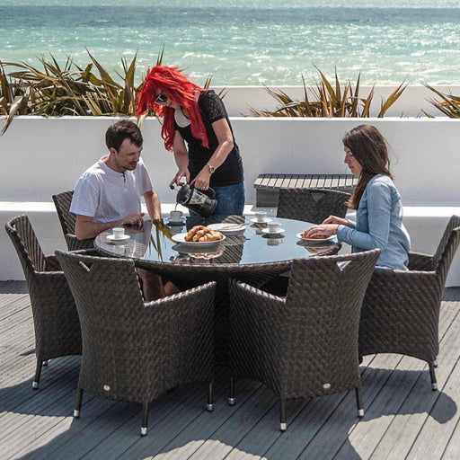Alexander Rose Garden Furniture Alexander Rose Ocean Wave Rattan 6-Seater Round Dining Set