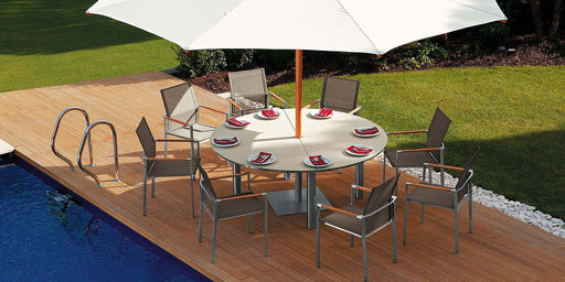 Barlow Tyrie Equinox (180cm Dia) Ivory White Ceramic Dining Set - Mid Ulster Garden Centre, Ireland