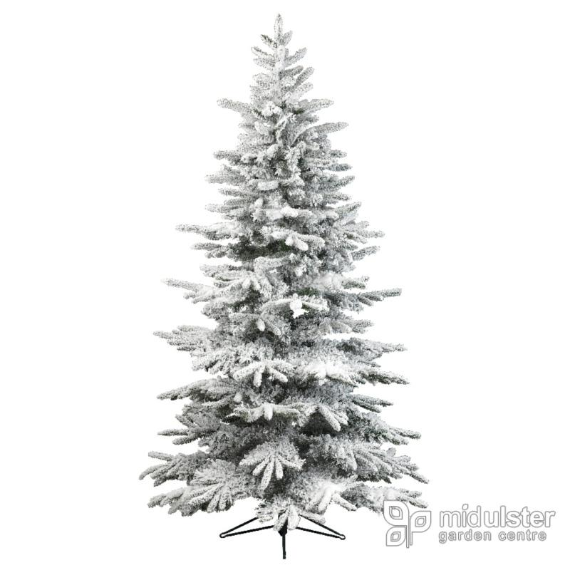 Kaemingk Everlands Snowy Alaskan Flocked Christmas Tree 7ft / 210cm - Mid Ulster Garden Centre, Ireland