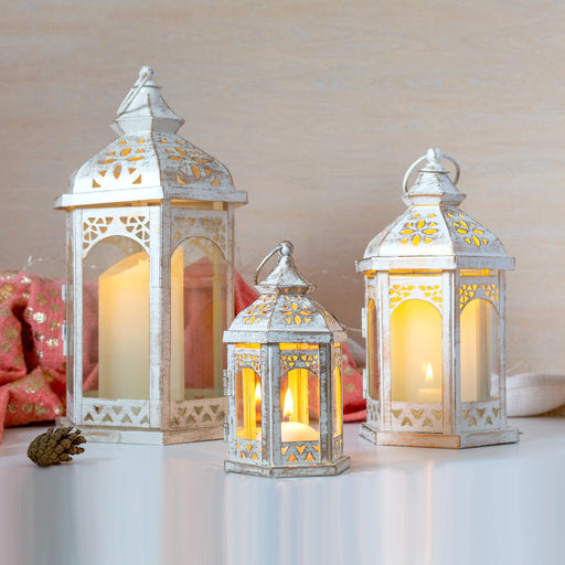 Mid Ulster Garden Centre Christmas lighting Three Kings Trio Lantern Set In Ivory
