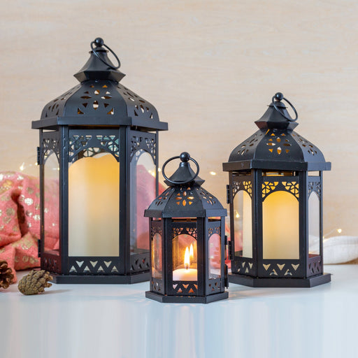 Mid Ulster Garden Centre Christmas lighting Sahara Trio Lantern Set In Black