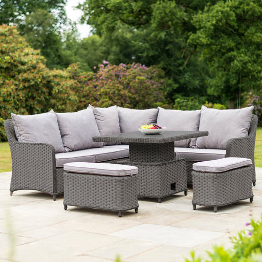 Alexander Rose Garden Furniture Alexander Rose Bespoke Grand Rattan Corner Adjustable Dining Table Set 2.3m Grey