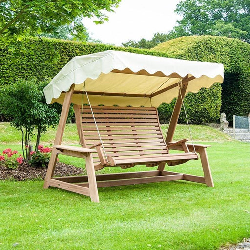 Alexander Rose Mahogany Swing Seat with Ecru Canopy - Mid Ulster Garden Centre, Ireland