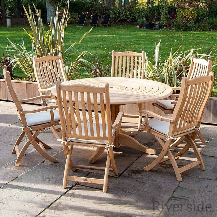 Alexander Rose Roble Bengal Round 6 Seater Set - Folding Carver - Mid Ulster Garden Centre, Ireland