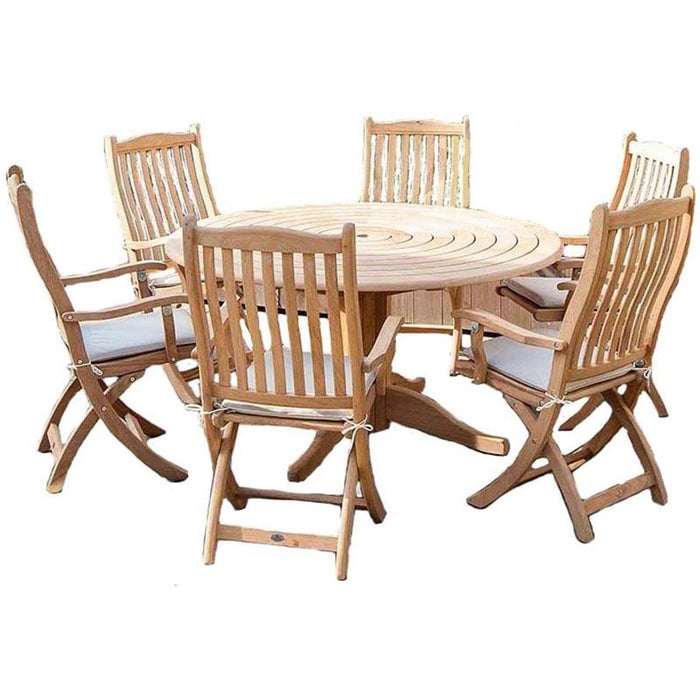 Alexander Rose Garden Furniture Alexander Rose Roble Bengal Round 6 Seater Set - Folding Carver