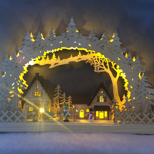 Alpine Cedar Village Silhouette with LEDs (43cm wide)