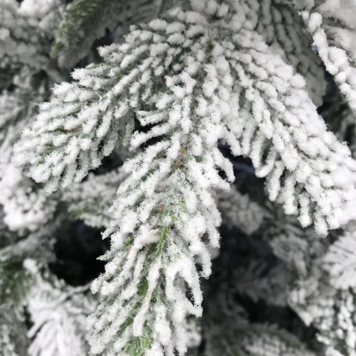 National Tree Company Feel Real Frosted Andorra Fir Hinged Tree 225cm / 7.5ft Detail 2 - Mid Ulster Garden Centre, Northern Ireland