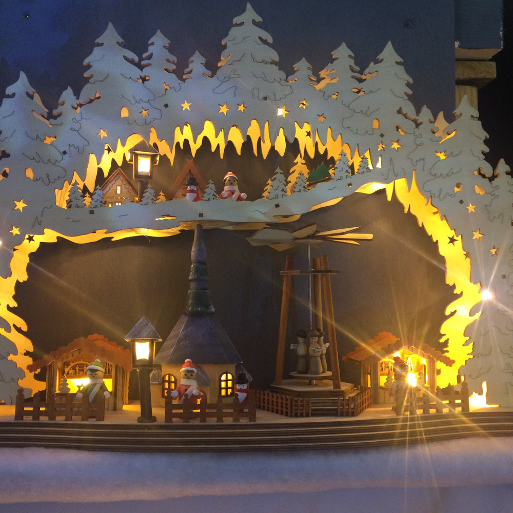 Nordic Christmas Market LED Silhouette 58cm wide