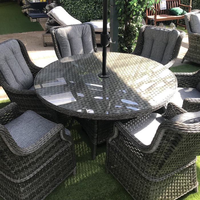 Fabulous Mercer Amalfi High Back 6 Seat Grey Rattan Outdoor Dining Set Ibusinesslaw Wood Chair Design Ideas Ibusinesslaworg