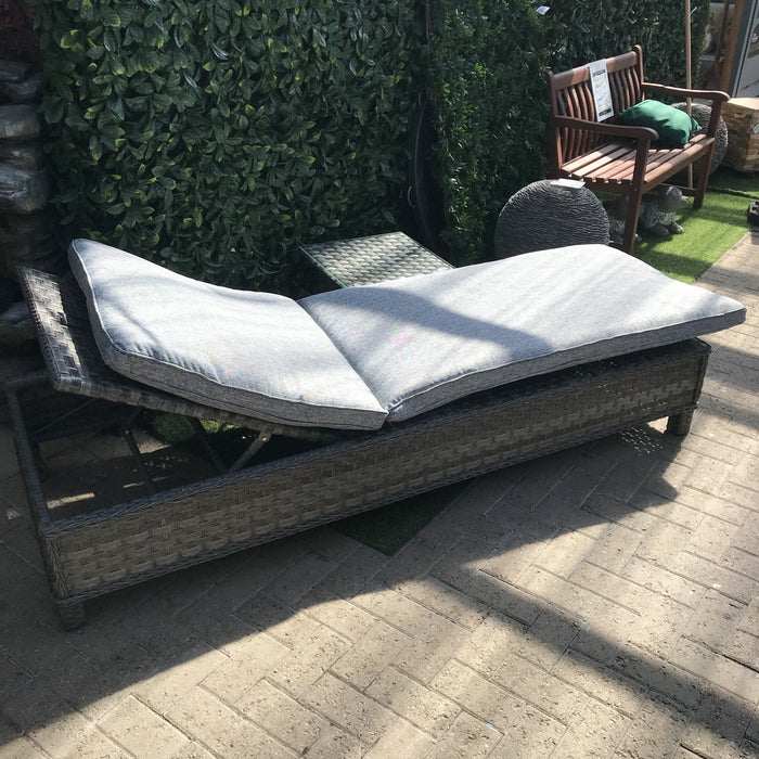 Mercer Garden Furniture Amalfi Sun Lounger Rattan Bed with Side Table