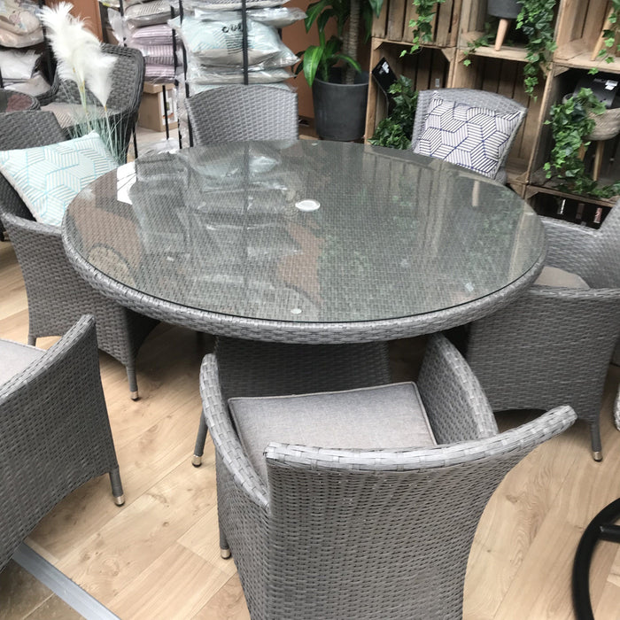 Alexander Rose Bespoke 6 Seater Round Rattan Dining Set in Grey