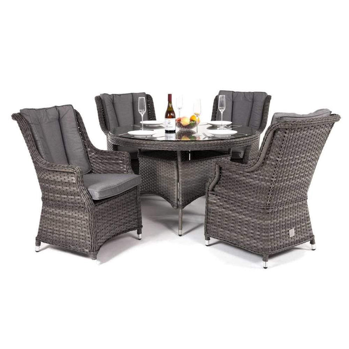 Amalfi High Back 4 Seat Grey Rattan Outdoor Dining Set Mid Ulster Garden Centre Hortus Vitae Ltd