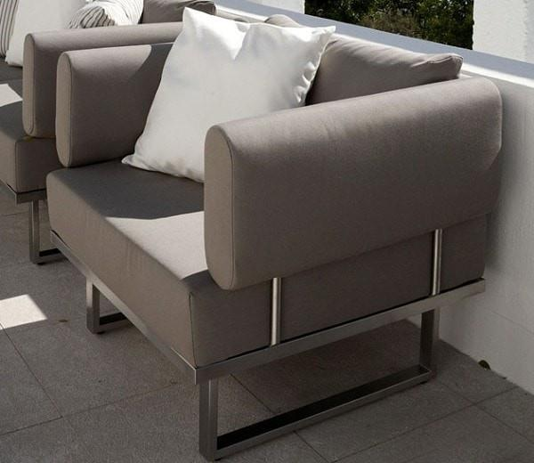 Barlow Tyrie Garden Furniture Mercury Armchair Deep Seating Barlow Tyrie Mercury Deep Seating Outdoor Lounging Set in SJA-3729 Taupe Fabric