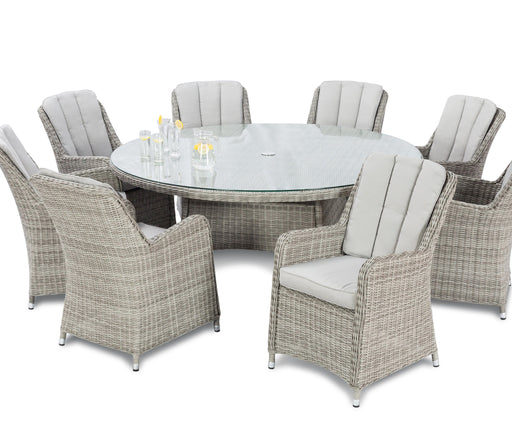Oxford 8 Seater Round Dining Set in Dove Grey