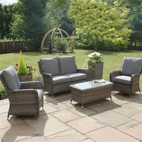 Mercer Garden Furniture Amalfi High Back Grey Rattan Sofa Set