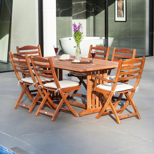 Alexander Rose Garden Furniture Alexander Rose - Cornis 6-seater Rectangular Table with folding carvers and folding side chairs