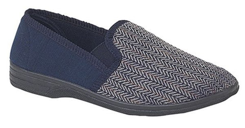Zedzz Charles Navy Herringbone Slipper
