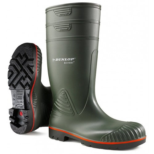 DUNLOP ACIFORT DARK GREEN STEEL TOE WELLINGTONS