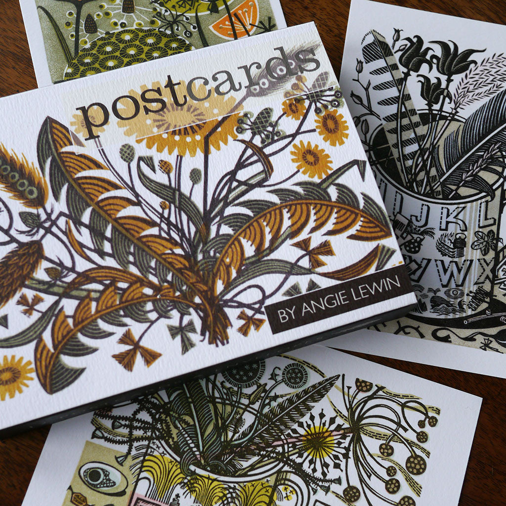 Wood engraving postcards - Angie Lewin