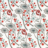 Hedgerow - screen printed fabric for St. Jude's - by Angie Lewin - bright red/blue
