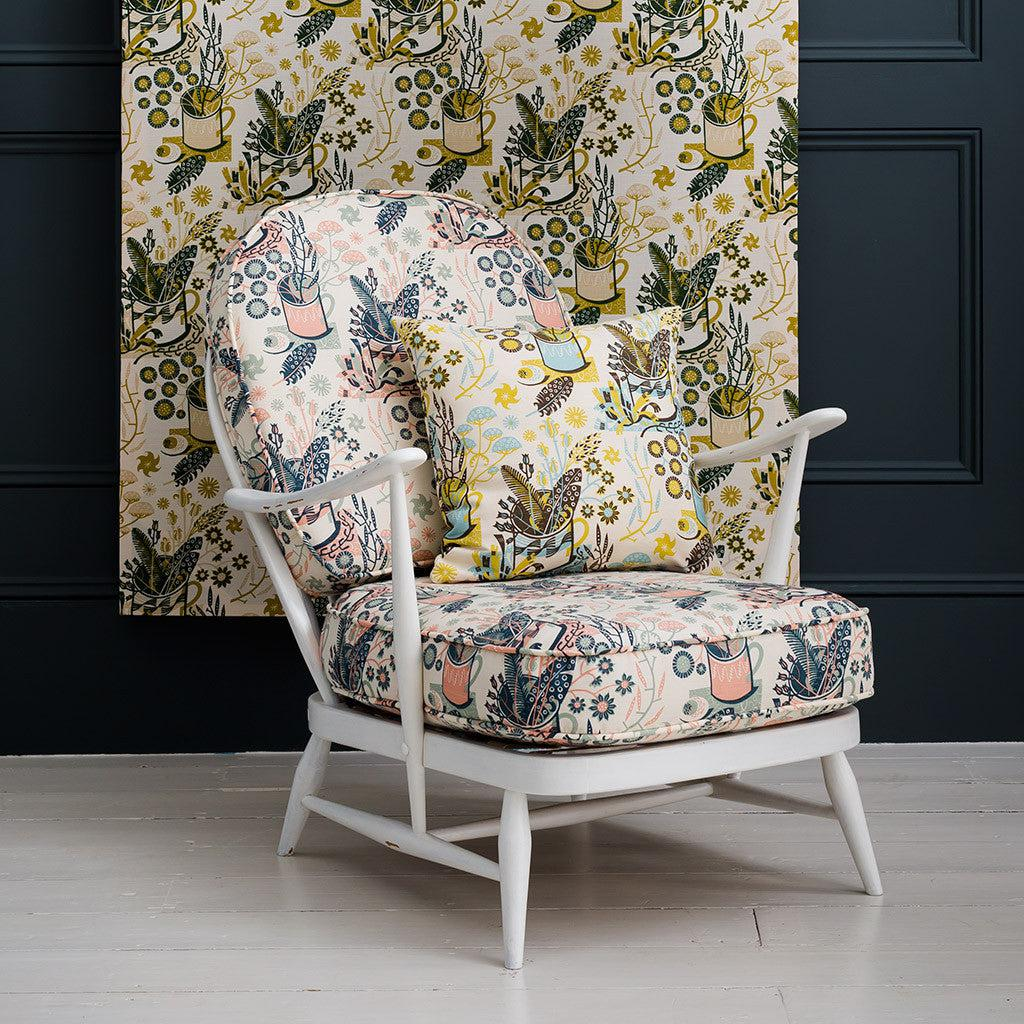 Nature Table - screen printed fabric for St Jude's by Angie Lewin