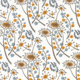 Hedgerow - screen printed fabric for St. Jude's - by Angie Lewin - orange/blue