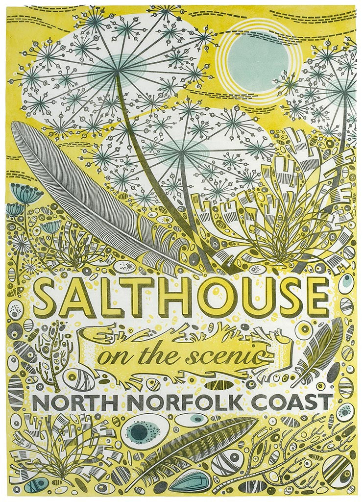 Salthouse - linocut poster by Angie Lewin - printmaker