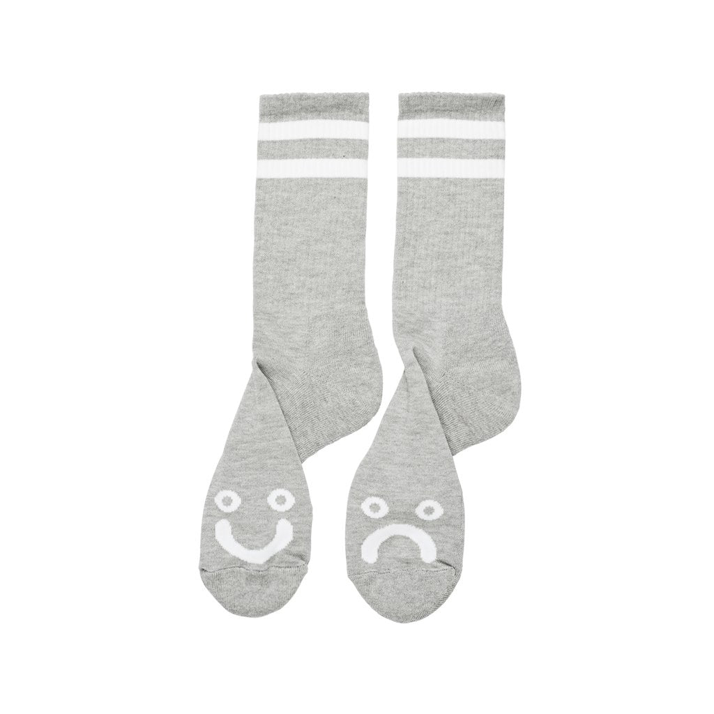 Polar Skate Co Happy Sad Socks - Heather Grey