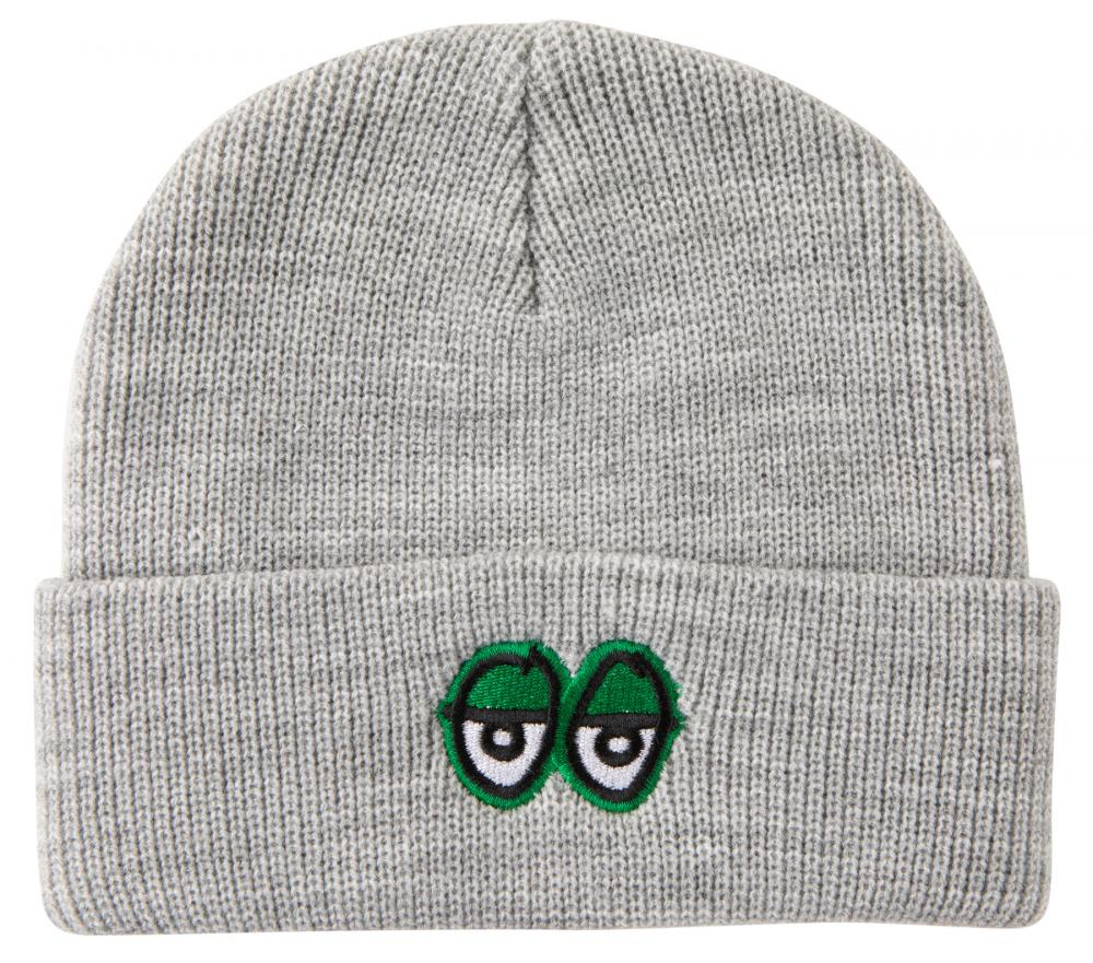 Krooked Eyes Cuffed Beanie - Heather Grey/Green