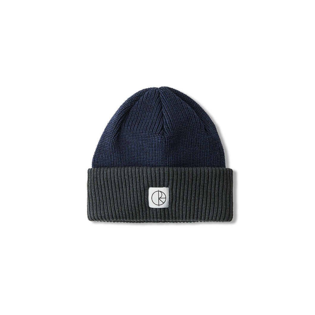 Polar Skate Co Double Fold Merino Beanie - Navy/Grey