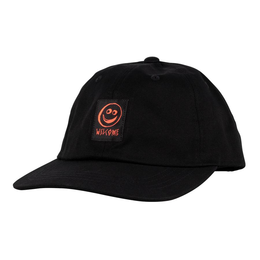 Welcome Smiley Unstructured Snapback Cap - Black