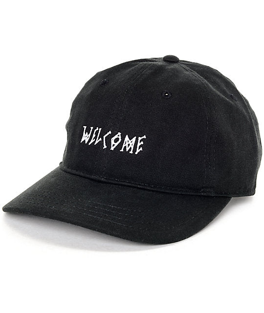 Welcome Scrawl 6 Panel Cap - Black