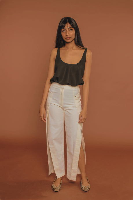 Slit Organic Cotton Trousers - CORE by JSI