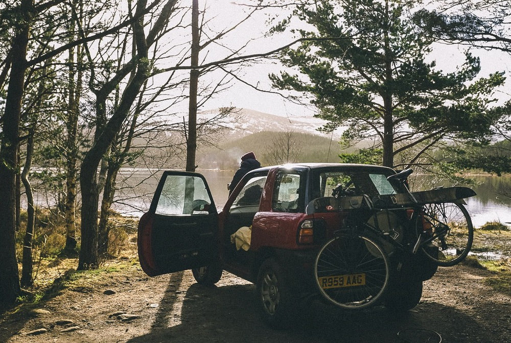 Early morning coffee in the Highlands, loaded up for a day of it.