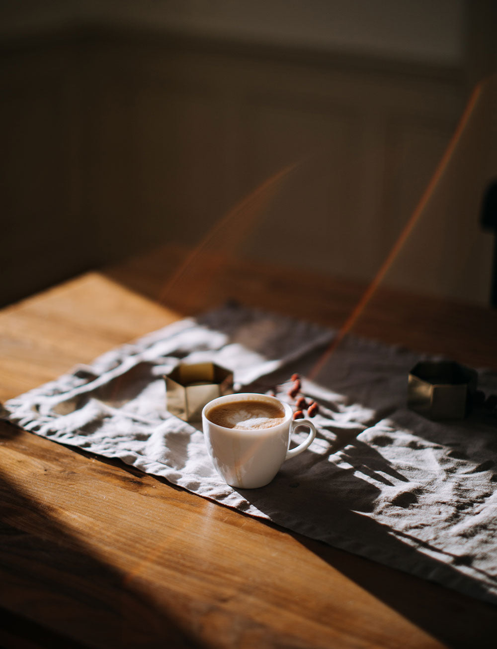 Steaming morning coffee