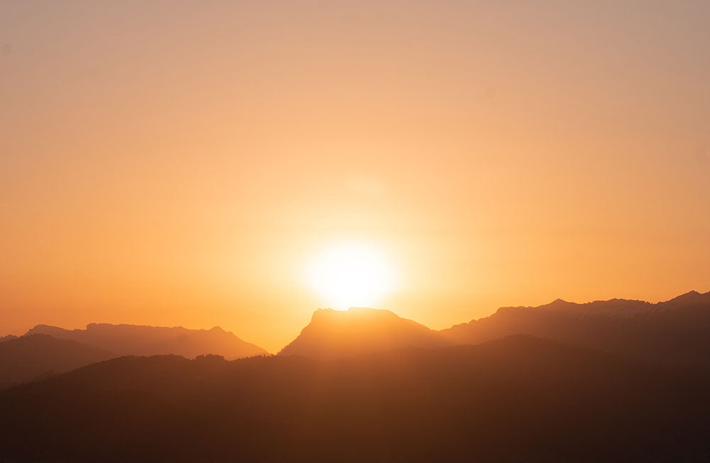 Sun rises over mountains in Portugal